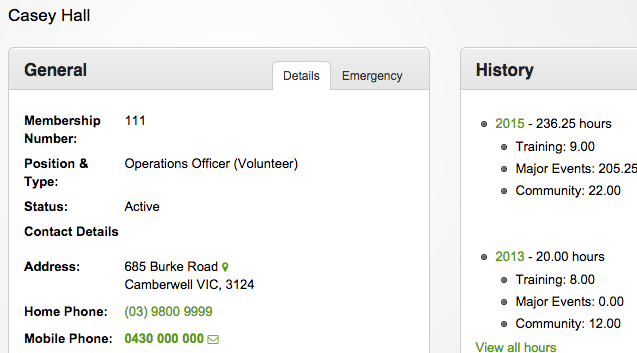 Persons details for a volunteer, contact and address information, summary of hours worked