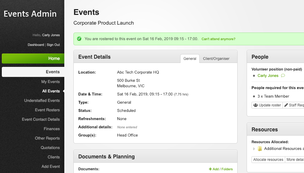 Events admin screen in the VTEvents workforce management software