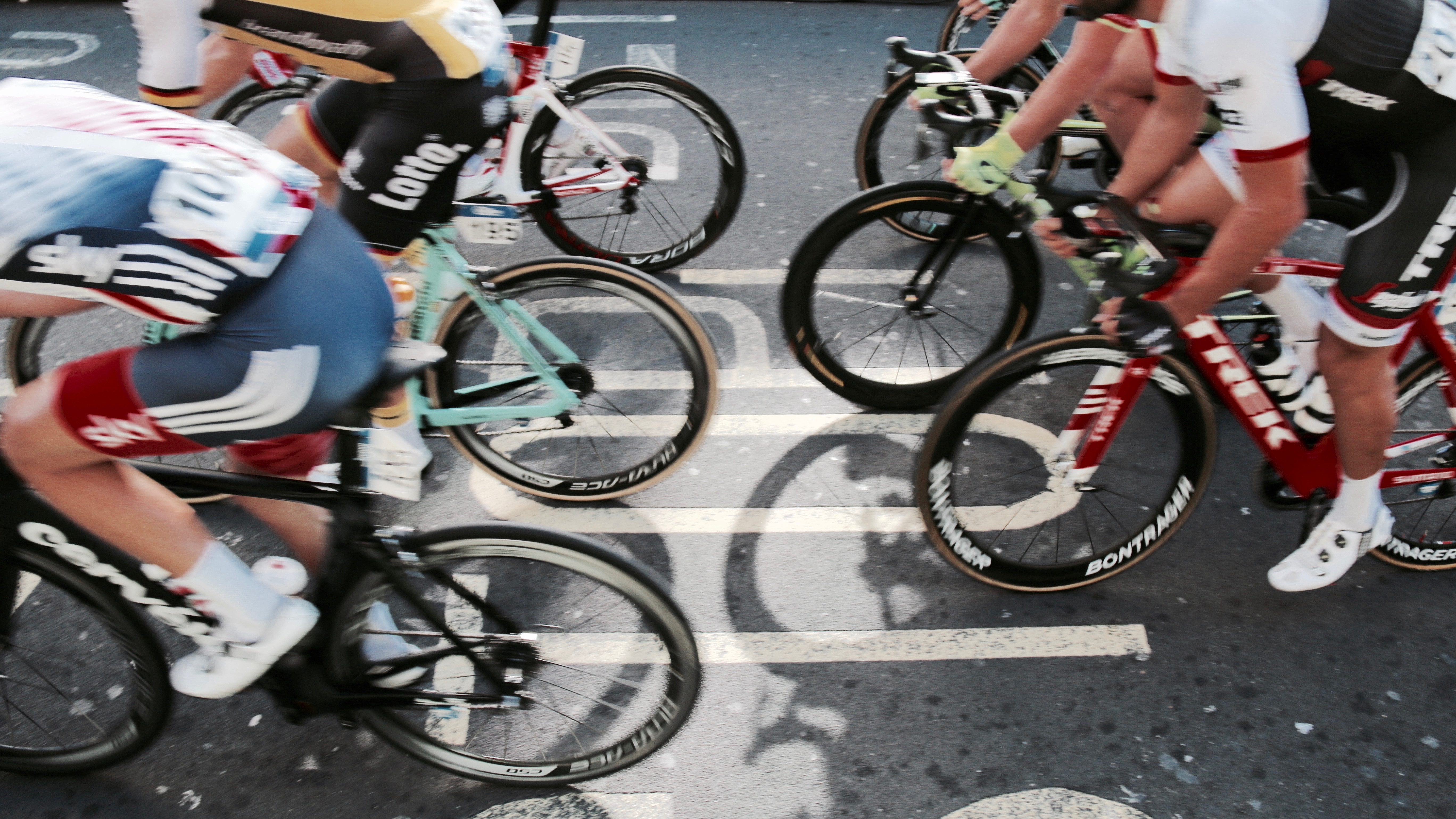 Aerial shot of bicycle race